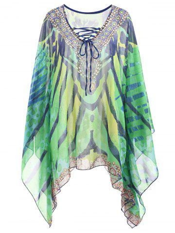 Affordable Plus Size Printed Lace Up Beach Cover Up