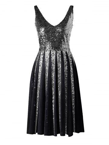 New Sleeveless Sequined Chiffon Dress