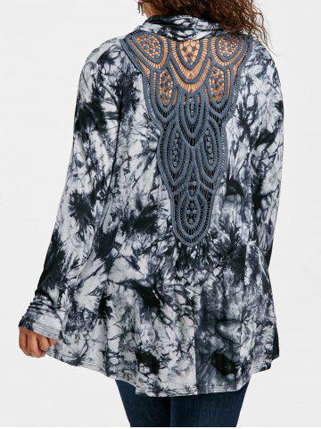 Hot Plus Size Tie Dye Back Hollow Out Cardigan