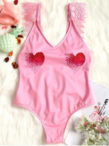 Valentine Lace Applique High Leg Swimsuit