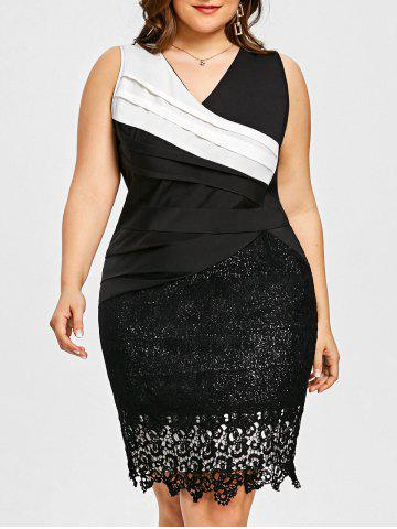 Affordable Plus Size Pleated Lace Trim Dress
