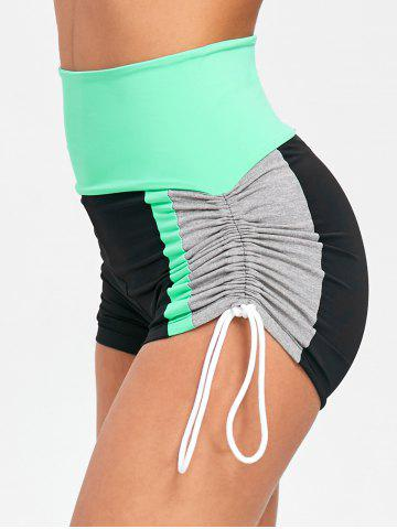 Trendy Color Block Side String Sports Shorts