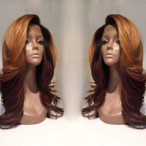 Shops Long Deep Side Parting Wavy Colormix Synthetic Wig