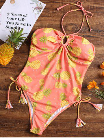 Fashion Pineapple High Cut Halter One Piece Swimsuit