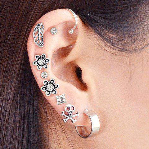 Cheap Alloy Floral Stud Earring and Ear Cuff Set