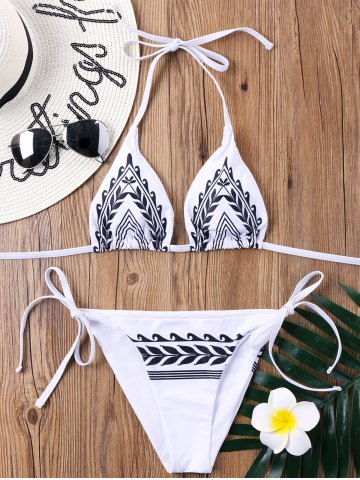 Tie Side Tribal Print String Bikini Set