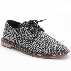 Low Heel Plaid Casual Shoes -