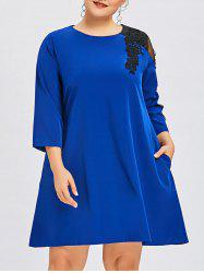 Plus Size Lace Insert Swing Dress -
