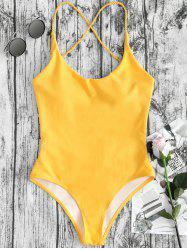 Cross Straps Backless One Piece Swimsuit -