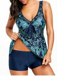 V Neck Self Tie Paisley Tankini Set -