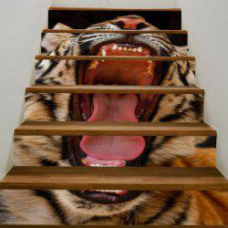 Home Decor Angry Tiger Printed Stair Stickers -