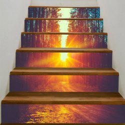Sunset Forest Pathway Print Home Decor Stair Stickers -
