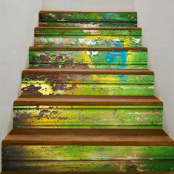 Battered Wood Board Printed Stair Decals -