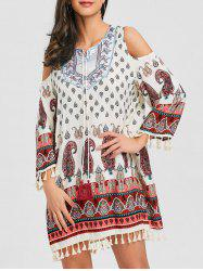 Open Shoulder Tassel Bohemian Print Dress -