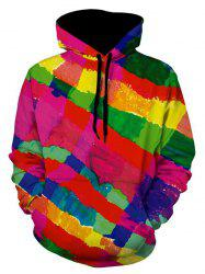 Kangaroo Pocket Pullover Colorful Stripe Hoodie -