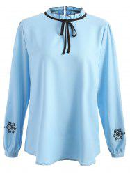 Plus Size Snowflake Embroidery Ruffle Trim Blouse -