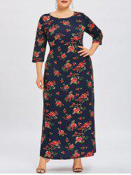 Flower Print Plus Size Maxi Dress -