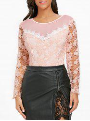 Lace Long Sleeve Mesh Insert Bodysuit -