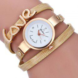 Любовь Faux Leather Wrap Bracelet Watch -