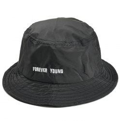 Unique Forever Young Embroidery Bucket Hat -