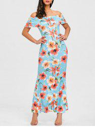 Ruffle Floral Off Shoulder Maxi Dress -