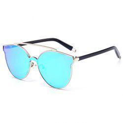 Stylish Crossbar Decorated Metal Full Frame Cat Eye Sunglasses -