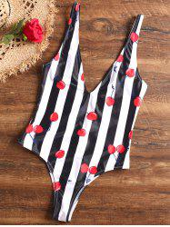 Striped Low Cut Thong One Piece Swimsuit -