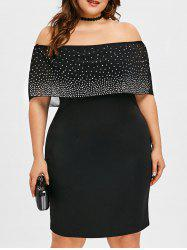 Plus Size Off Shoulder Beading Capelet Dress -