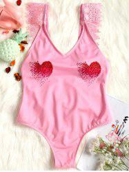 Valentine Lace Applique High Leg Swimsuit -