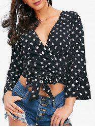 Bell Sleeve Plunging Neckline Wrap Blouse -