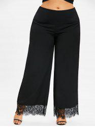 Plus Size Lace Panel Palazzo Pants -