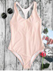 Ribbed Racerback High Leg One Piece Swimwear -