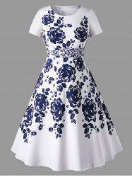 Short Sleeve Plus Size Floral Print Dress -