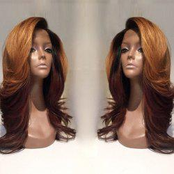 Long Deep Side Parting Wavy Colormix Synthetic Wig -
