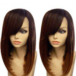 Medium Inclined Bang Gradient Straight Synthetic Wig -