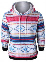 Ethnic Drawstring Neck Kangaroo Pocket Hoodie -