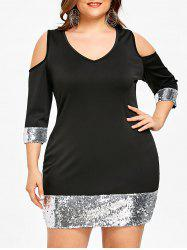 Sequins Trim Plus Size Bodycon Dress -