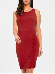 Overlap Scalloped Edge Bodycon Dress -