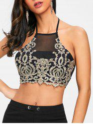 Golden Thread Embellished Crop Tank Top -