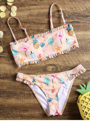 Flamingo Founce Bandeau Bikini Swimwear -
