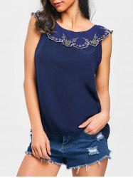 Open Back Embroidered Blouse -