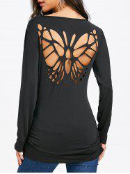 Butterfly Cut Back Long Sleeve T-shirt -