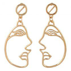 Metal Side Face Openwork Drop Earrings -