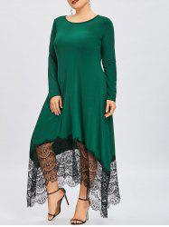 Plus Size Lace Insert Asymmetrical Maxi Dress -