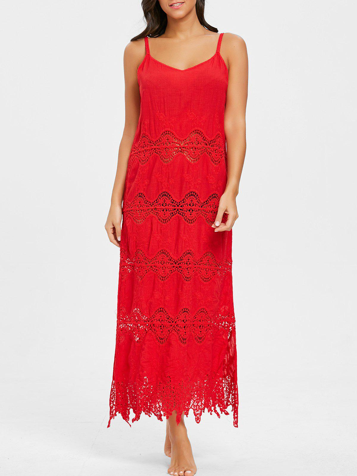 Chic Crochet Slip Maxi Cover Up Dress