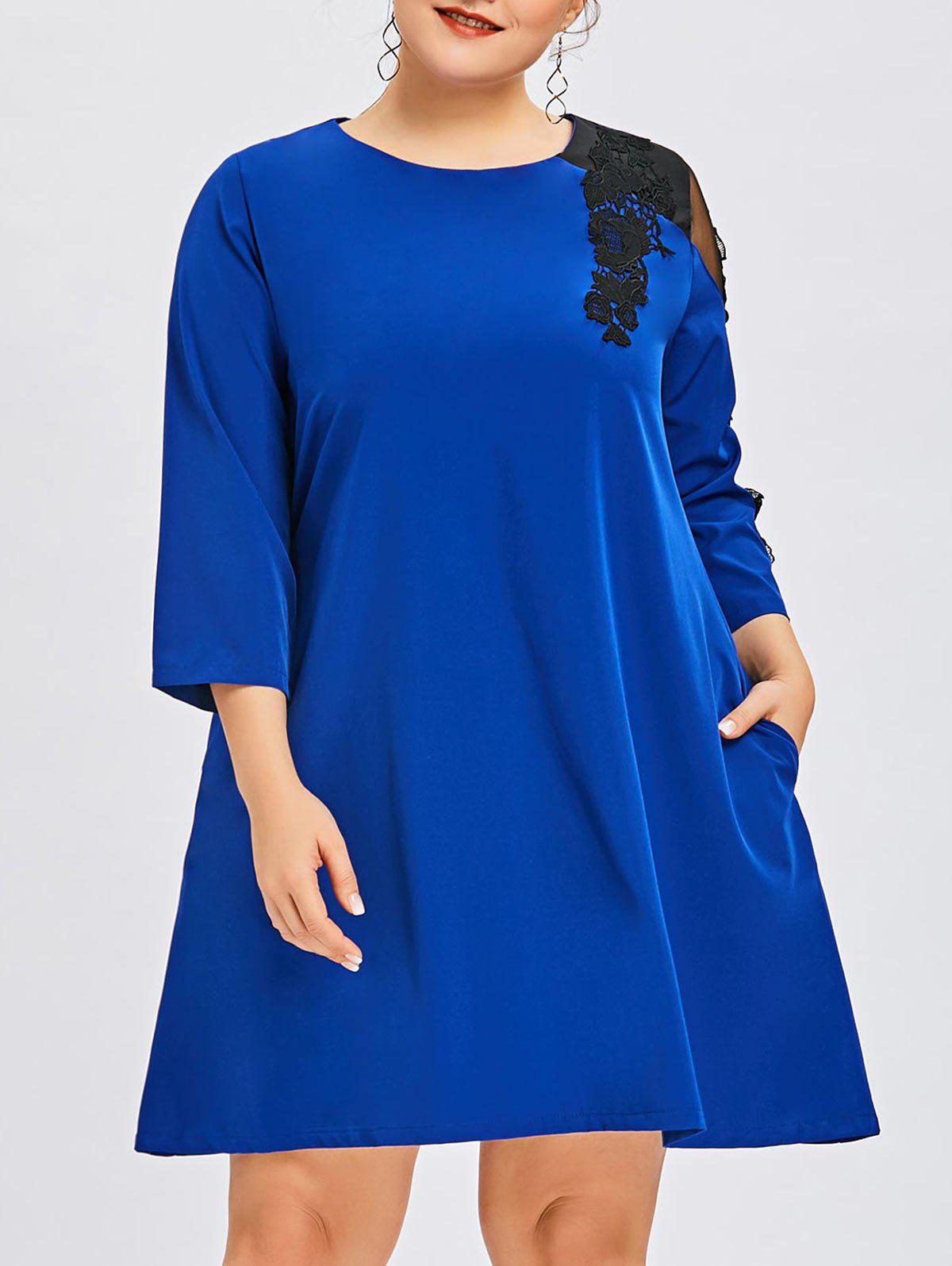 Outfits Plus Size Lace Insert Swing Dress
