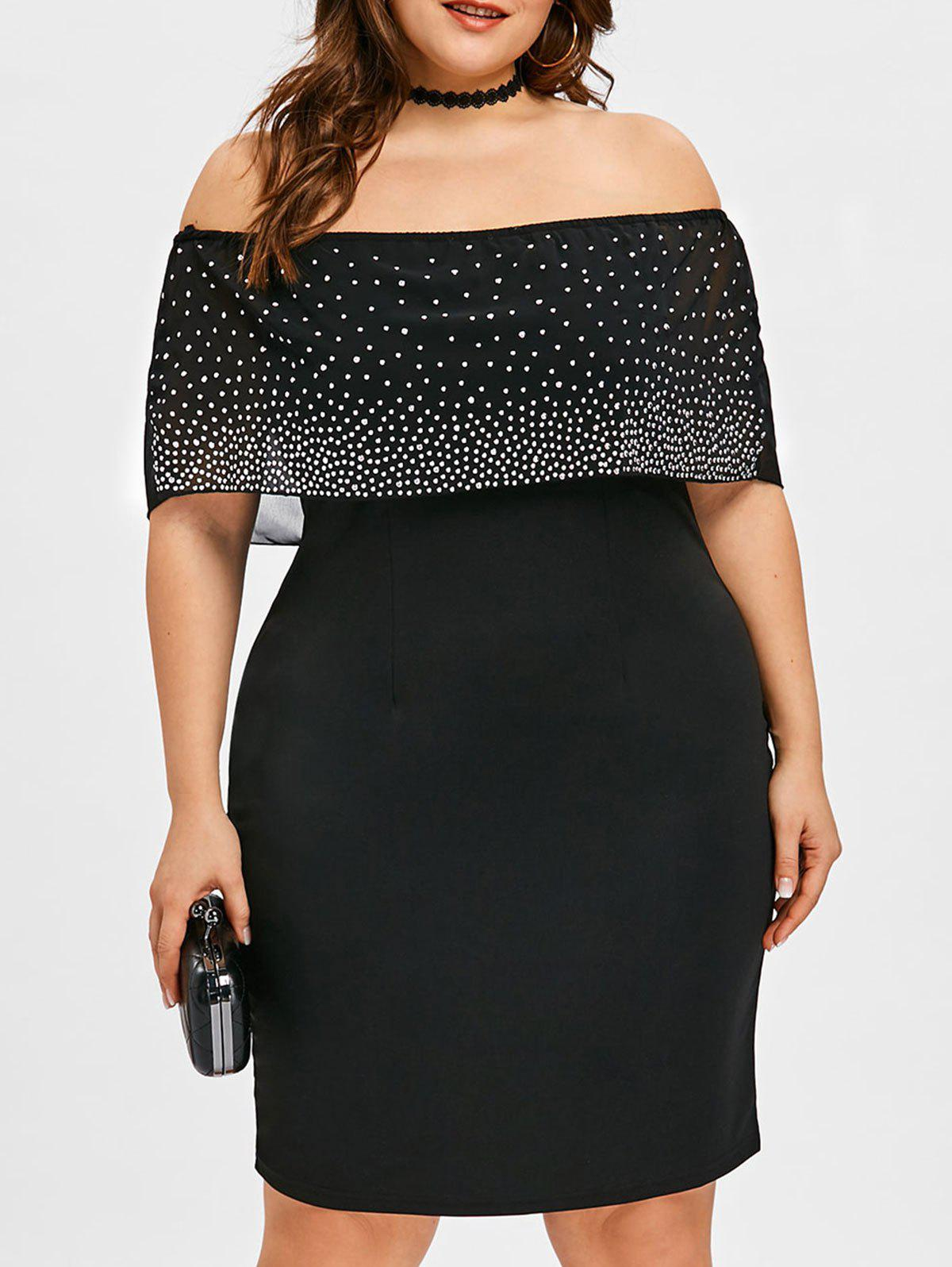 Buy Plus Size Off Shoulder Beading Capelet Dress