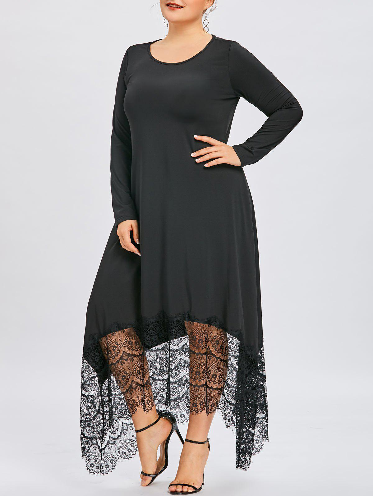 091e6f27989 Unique Plus Size Lace Insert Asymmetrical Maxi Dress