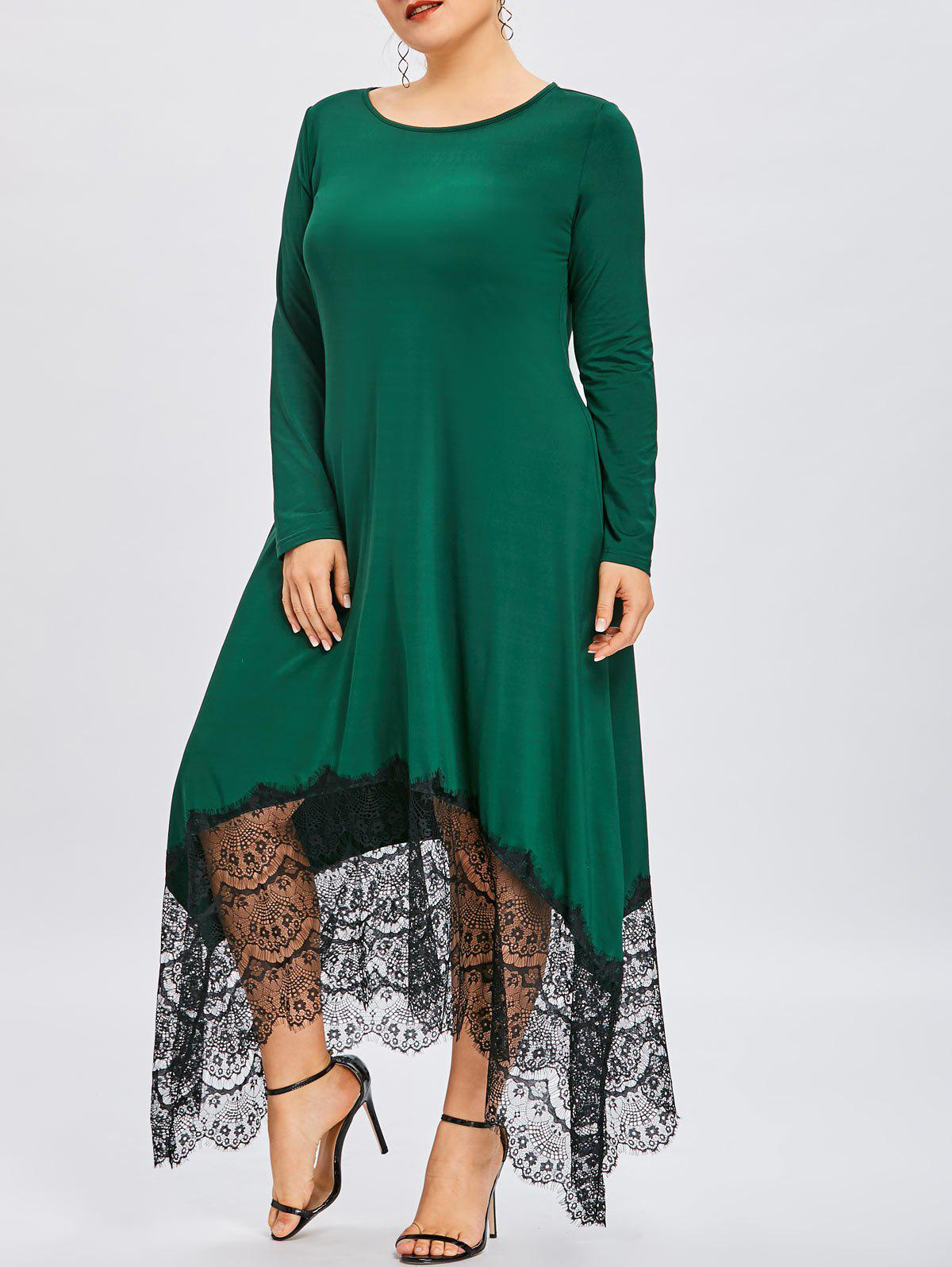 Sale Plus Size Lace Insert Asymmetrical Maxi Dress