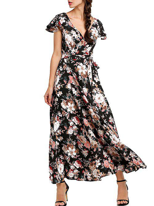 Chic Plunge Back Lace Up Floral Maxi Dress